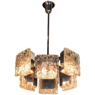 Midcentury Polished Chrome Chandelier with Textured Glass Shades by Mazzega
