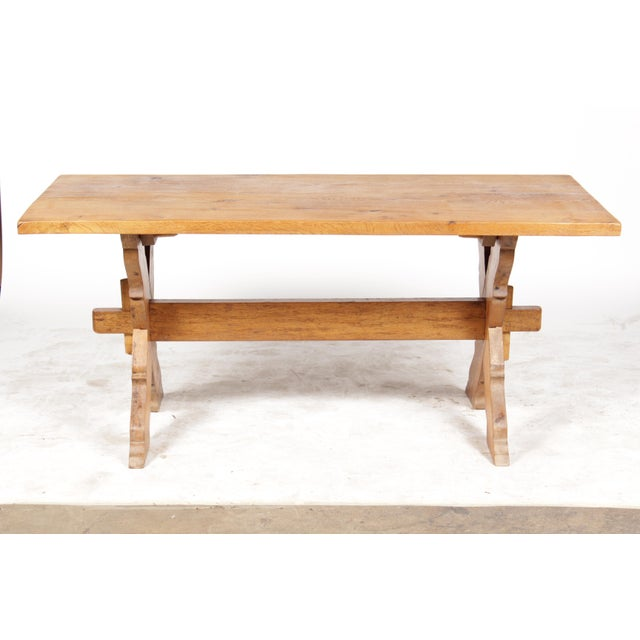 French Country-Style Trestle Table - Image 2 of 8