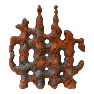 Italian Ceramic Coral Sculpture in Orange For Sale