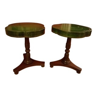Green Leather Gold Embossed End Tables - A Pair For Sale