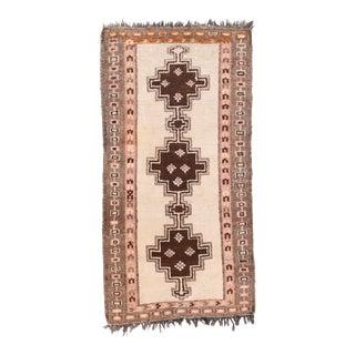 Antique White Fine Persian Tribal Gabbeh Area Rug For Sale
