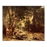 """Image of 1950s Gustave Courbet """"Roe Deer in a Forest"""" First Edition Lithograph For Sale"""