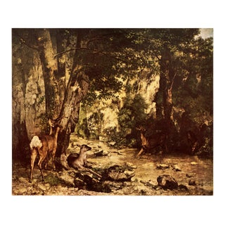 "1950s Gustave Courbet ""Roe Deer in a Forest"" First Edition Lithograph For Sale"