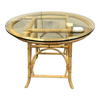 Mid Century Modern McGuire Style Bamboo Dining Table For Sale