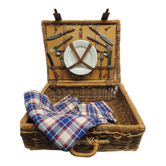 Vintage Picnic Wicker Basket with Blanket and Serving Set - Image 1 of 5