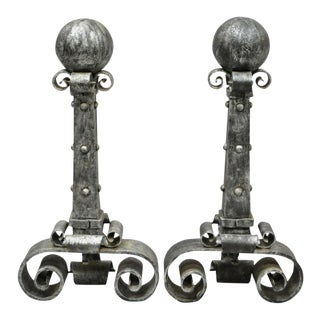 Pair of Antique Wrought Iron Large Cannonball Gothic Fireplace Andirons For Sale
