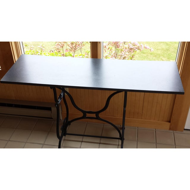 Wrought Iron & Slate Top Console Table For Sale - Image 10 of 11