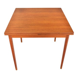 Danish Modern Square Teak Draw Leaf Dining Table For Sale