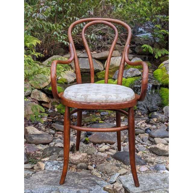 Early 20th Century Antique Signed/Marked Michael Thonet Bentwood Beech Bistro Captains Chair For Sale - Image 5 of 13
