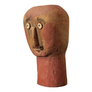 Primitive Folk Art Wooden Head Sculpture For Sale