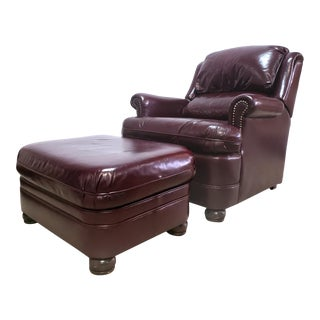 Vintage Leather Recliner Chair & Ottoman by Bradington-Young For Sale