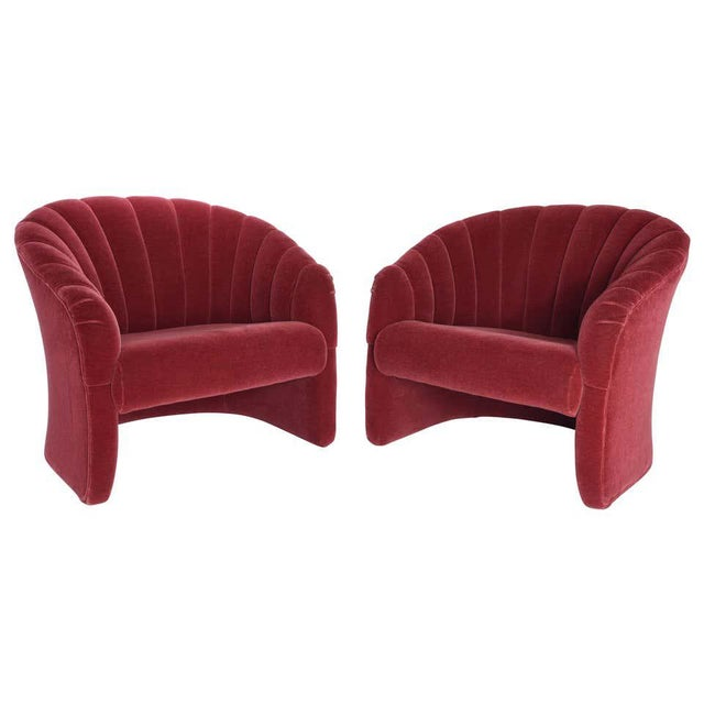Textile 1970s Red Mohair Barrel Back Lounge Chairs- A Pair For Sale - Image 7 of 8