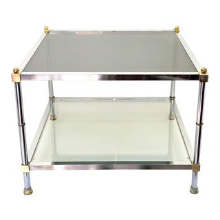 1972 Mid Century Modern Maison Jansen Brass & Chrome Side Table For Sale