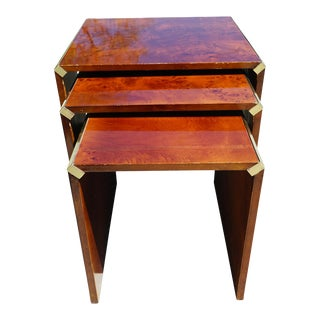 Art Deco Burl Nesting Tables - Set of 3 For Sale
