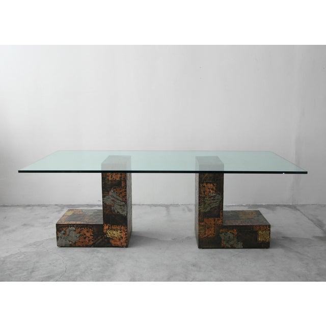 1970s Brutalist Metal Patchwork Pedestal Dining Table by Paul Evans For Sale - Image 5 of 8