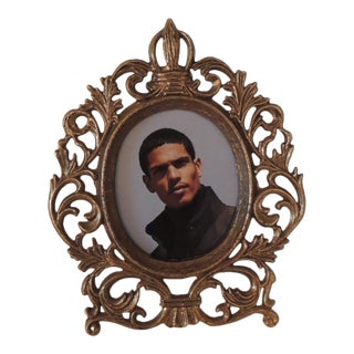 Small Round Brass Decorative Picture Frame For Sale
