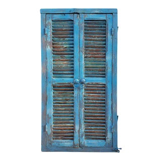 1960s Vintage Moroccan Turquoise Old Window Frame For Sale