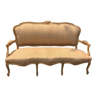 Modern Burlap and Gilded Rococo Sofa For Sale