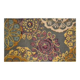 Cotton Print Felt Embroidered Rug - 2″ × 4″ For Sale