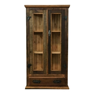 Reclaimed Wood & Glass Display Cabinet For Sale