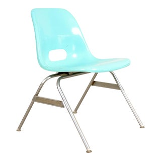Mid-Century Children's Blue Fiberglass Shell Chair For Sale