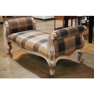 Silver Foil and Earth Tone Plaid Rococo Bench Preview