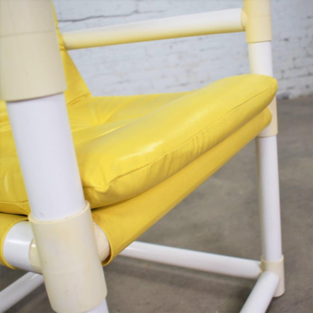 MCM Outdoor Pvc Side Chairs Yellow Vinyl Upholstery by Decorion Fun Furnishings - a Pair For Sale - Image 10 of 11