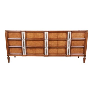Romweber Mid-Century Hollywood Regency Burl Wood Triple Dresser or Credenza For Sale