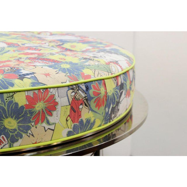 Animal Skin Mid Century Vintage Chrome Frame Ottoman With Pop Art Embossed Leather Upholstery For Sale - Image 7 of 10
