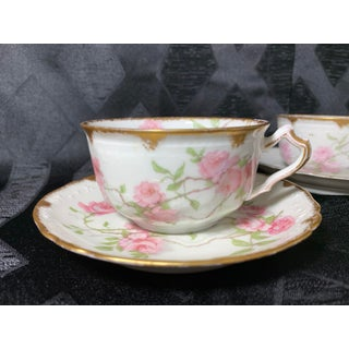 French Limoges Porcelain Baltimore Rose With 24k Gold Trim Tea Cups and Saucers - 14 Pieces Preview
