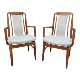 Late 20th Century Vintage Teak Arm or Captains Chairs -A Pair For Sale