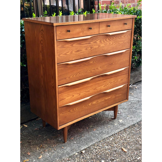 1960s Heywood Wakefield 5 Drawer Highboy For Sale - Image 11 of 11
