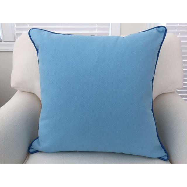 Paradise Collection Cornflower Blue & Ink Blue Welt Down Pillow - Image 3 of 4