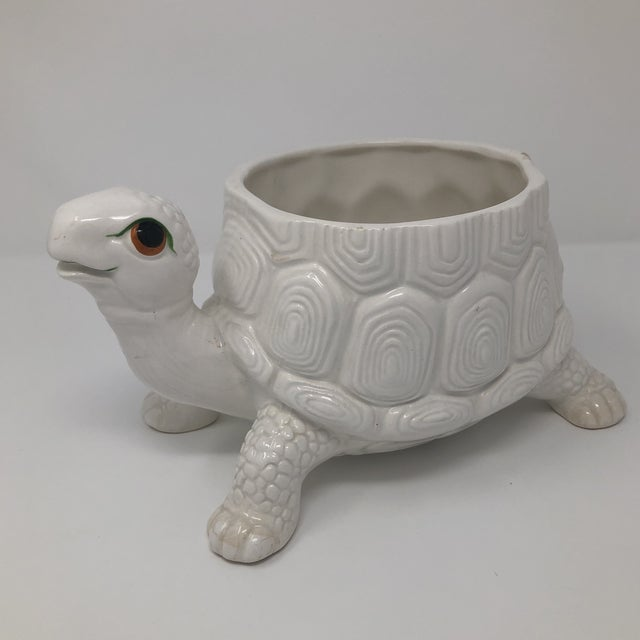 Offered is vintage White Ceramic turtle planter signed Fitz and Floyd, Inc.