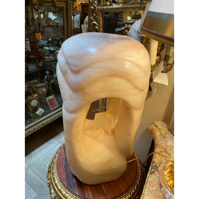 1960's Pink/Rose Alabaster Sculpture Lamp For Sale - Image 12 of 13