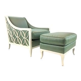 Modern Caracole Custom Green Silk Chair & Ottoman Set For Sale