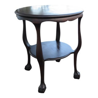 Chippendale 1900s Mahogany Ball and Claw Feet Round Side Center Table 2453 For Sale