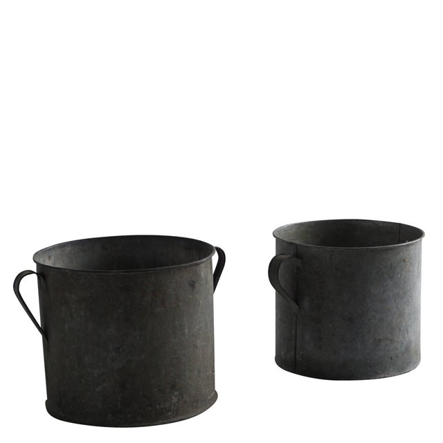 Industrial Mid-20th Century Vintage French Pots - a Pair For Sale - Image 3 of 5