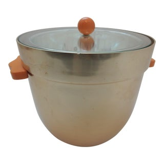 Mid-Century Modern Neocraft Aluminum Ice Bucket Glass Lid Bakelite Handles For Sale