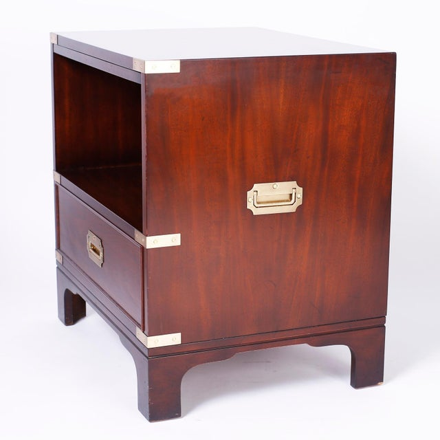 Brown Midcentury Campaign Style Nightstands - A Pair For Sale - Image 8 of 10