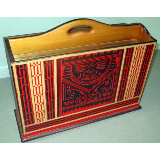 Mexican Lacquerware Magazine Stand With Aztec Designs For Sale - Image 11 of 13