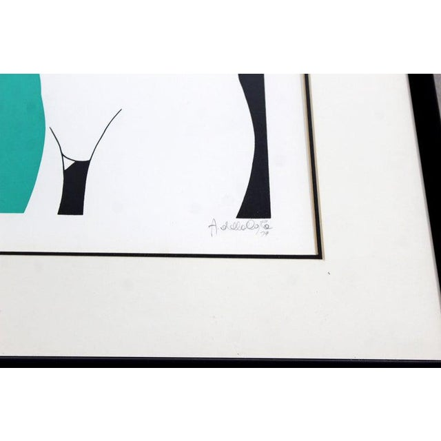 "Mid-Century Modern ""The Nudes"" Green Framed Lithograph Signed Dated 1979 29/325 For Sale In Detroit - Image 6 of 7"