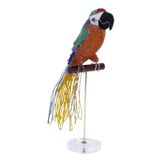Glass Beaded Parrot Sculpture For Sale