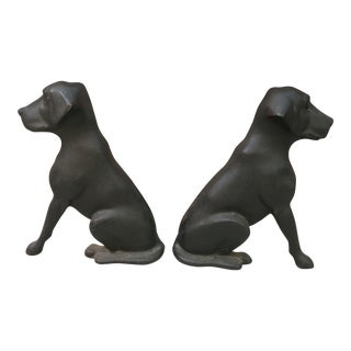 Antique Iron Black Lab Dog Fireplace Andirons - a Pair