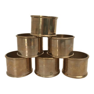 Vintage Indian Solid Brass Circular Napkin Rings - Set of 6 For Sale