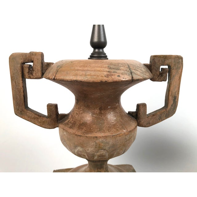 Tan French Neoclassical Carved Wood Vase Lamps - a Pair For Sale - Image 8 of 10