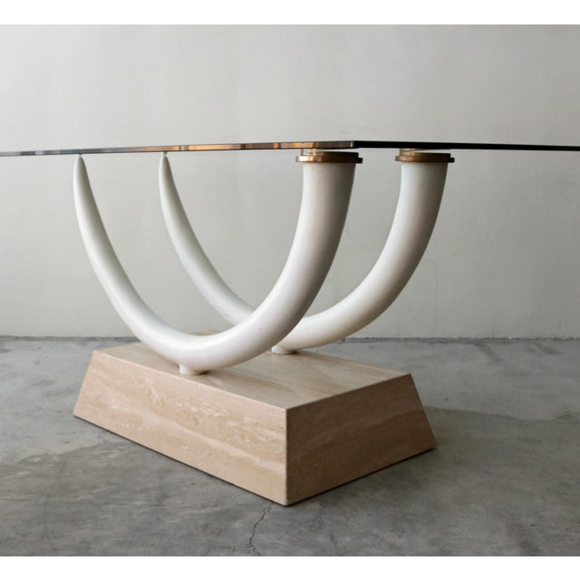 Gold Tusk and Travertine Dining Table in the Manner of Karl Springer For Sale - Image 8 of 8