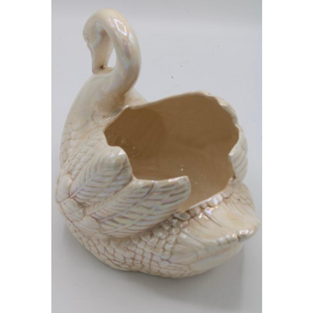 Cream Lusterware Swan Cachepot Planter For Sale - Image 9 of 13