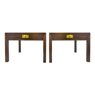 Pair of Henredon Campaign Style Burl and Oak Patterned Top Side Tables