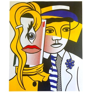 "Roy Lichtenstein Vintage 1999 Pop Art Lithograph Calendar Print "" Stepping Out "" 1978 For Sale"